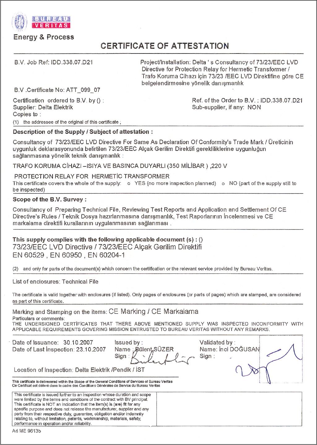 Certificates Delta Electric